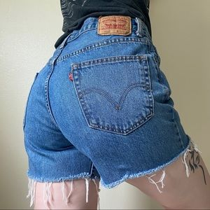 LEVIS Vintage 550 High Rise Cutoff Jean Shorts 35""